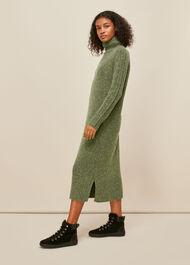 Flecked Wool Knit Midi Dress