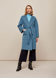Double Faced Wool Wrap Coat Blue