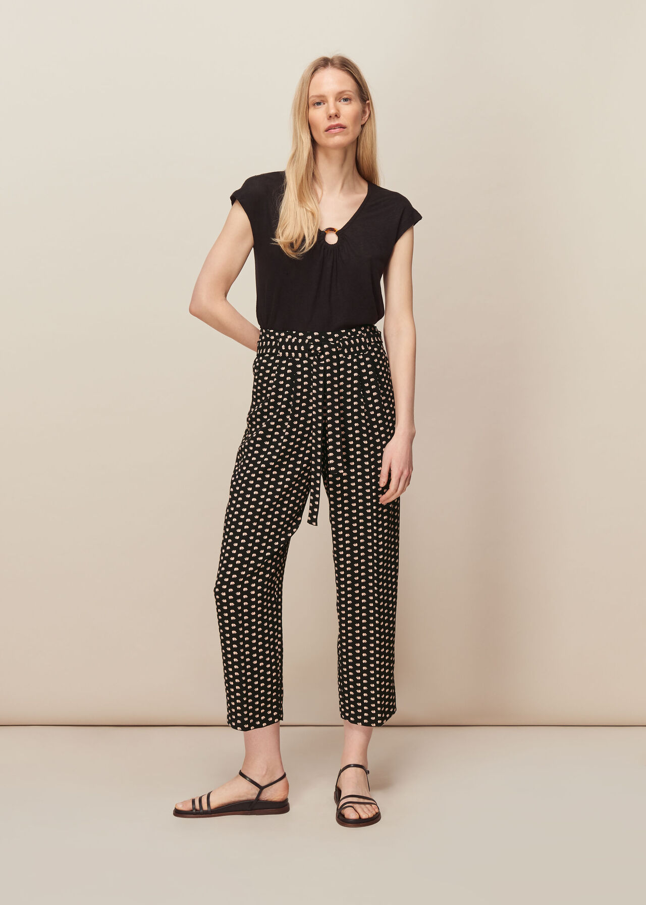Elephant Print Crepe Trouser Black/Multi