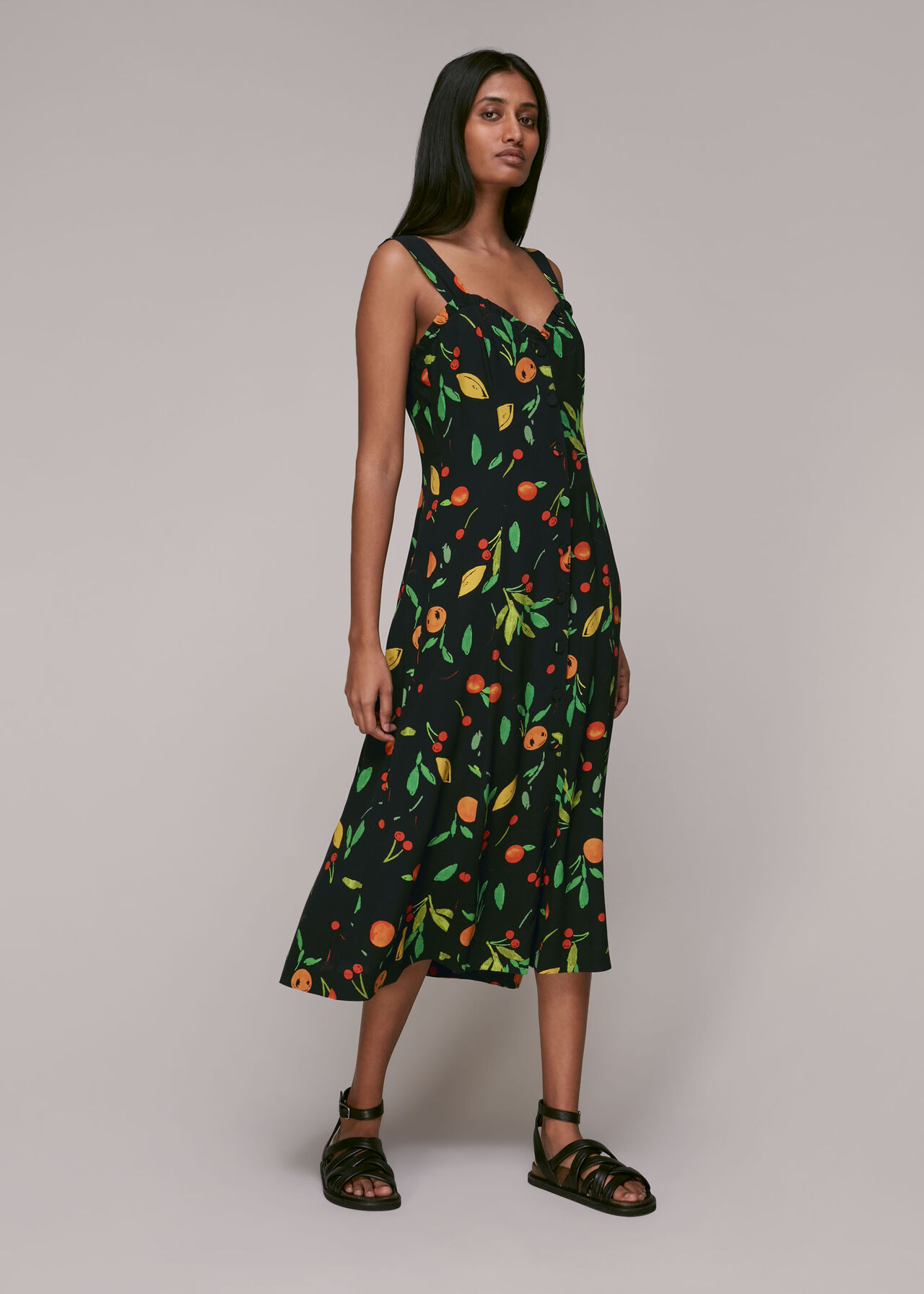 Fruit Print Frill Dress
