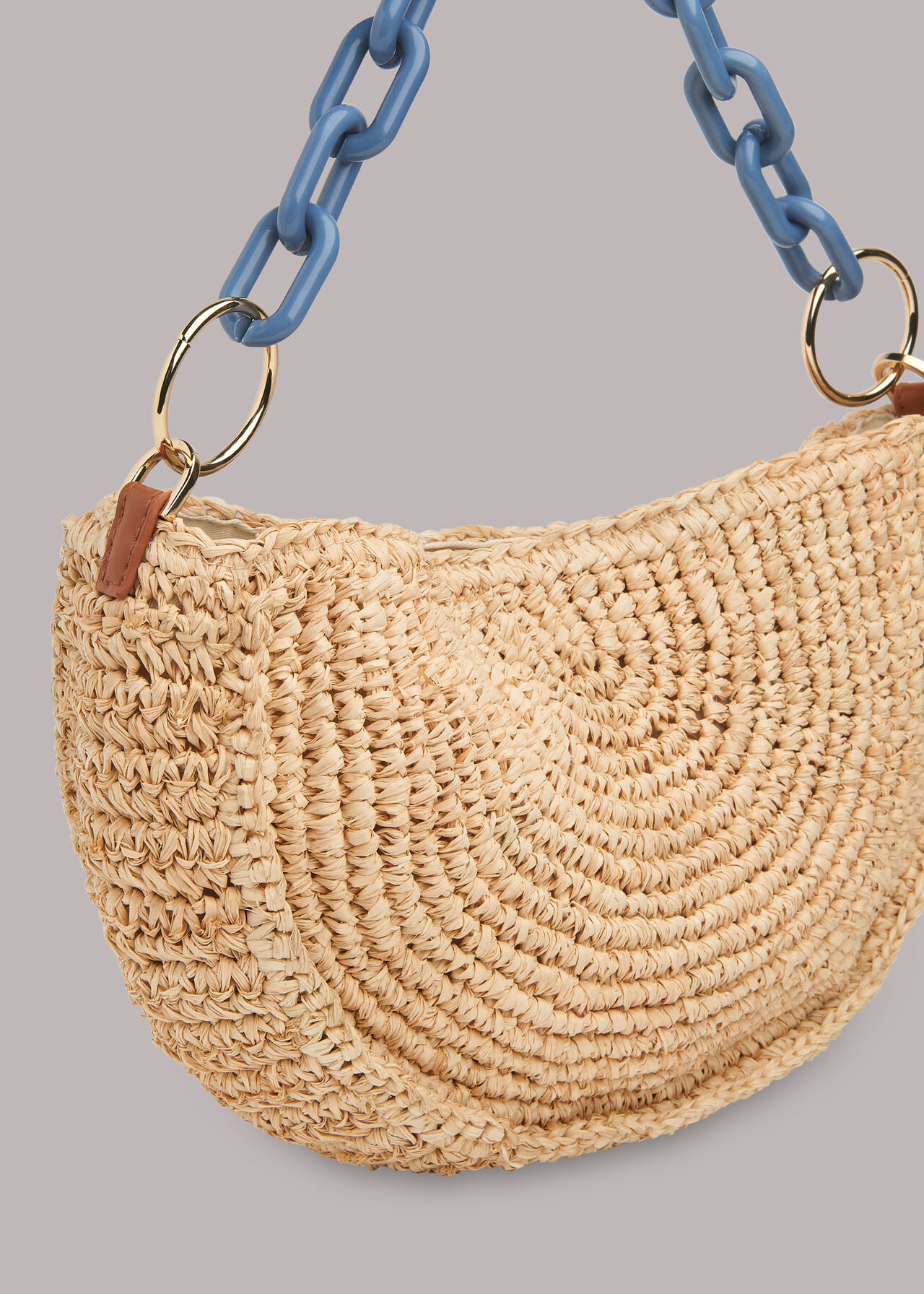 Sonny Straw Half Moon Bag