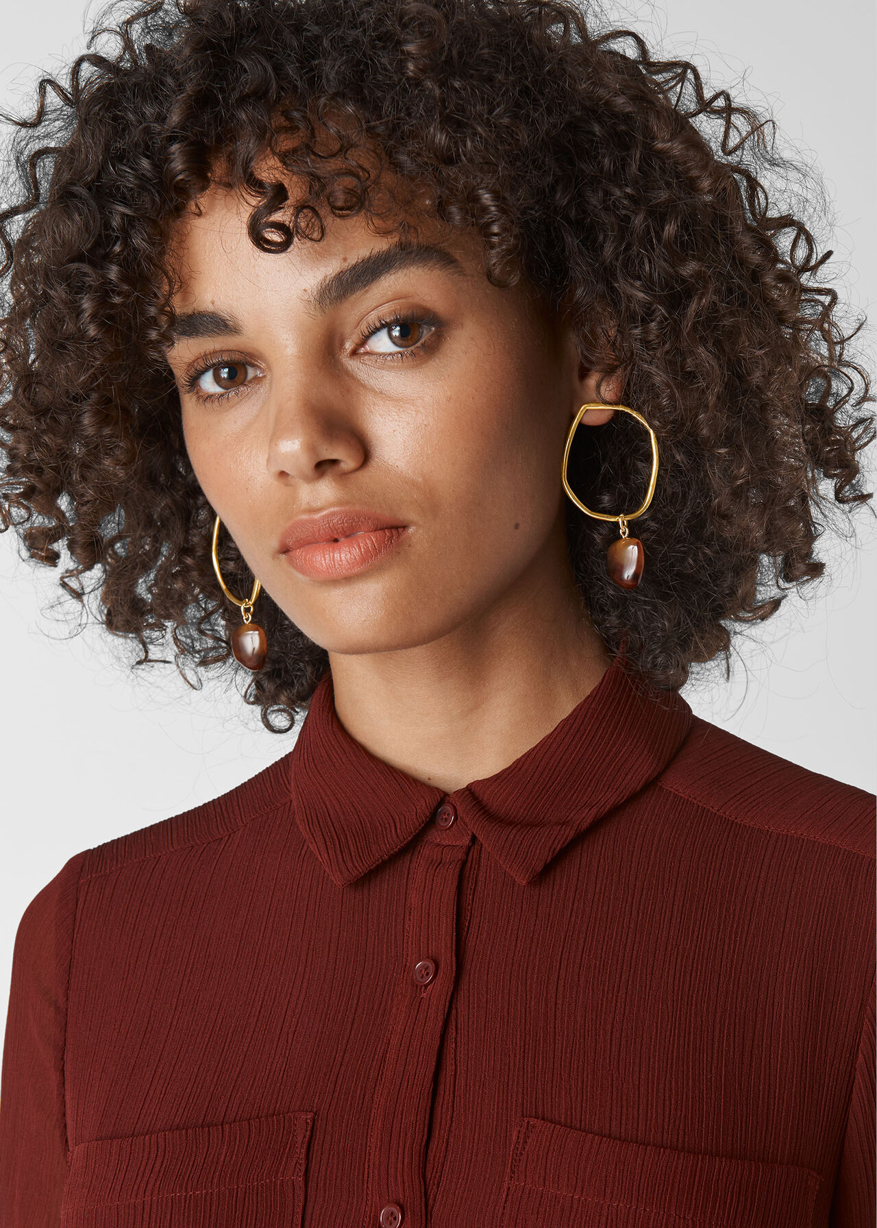 Hammered Ring Earring Gold/Multi