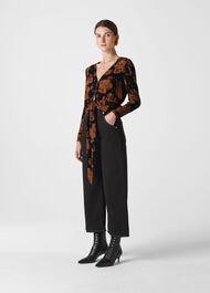 Ari Hibiscus Tie Front Top Brown/Multi