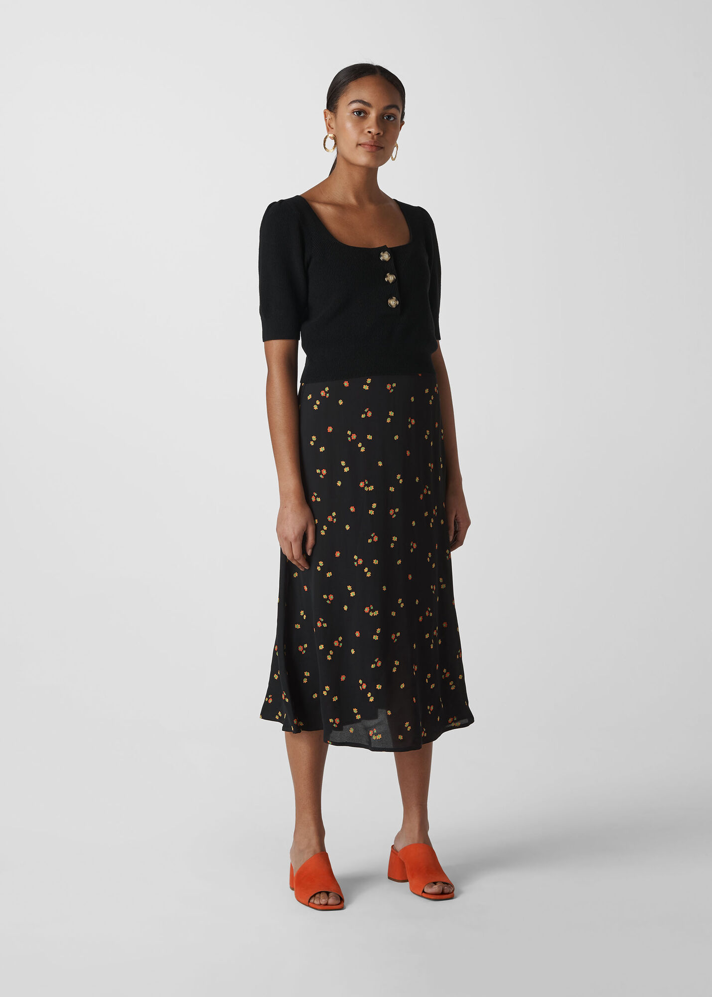 Micro Floral Longline Skirt