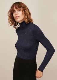 Annie Sparkle Polo Knit Navy