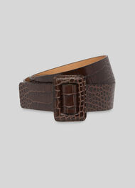 Croc Leather Belt Brown