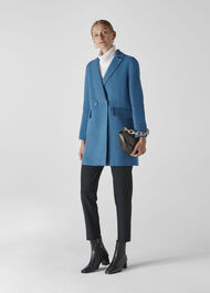 Double Faced Wool Coat Blue