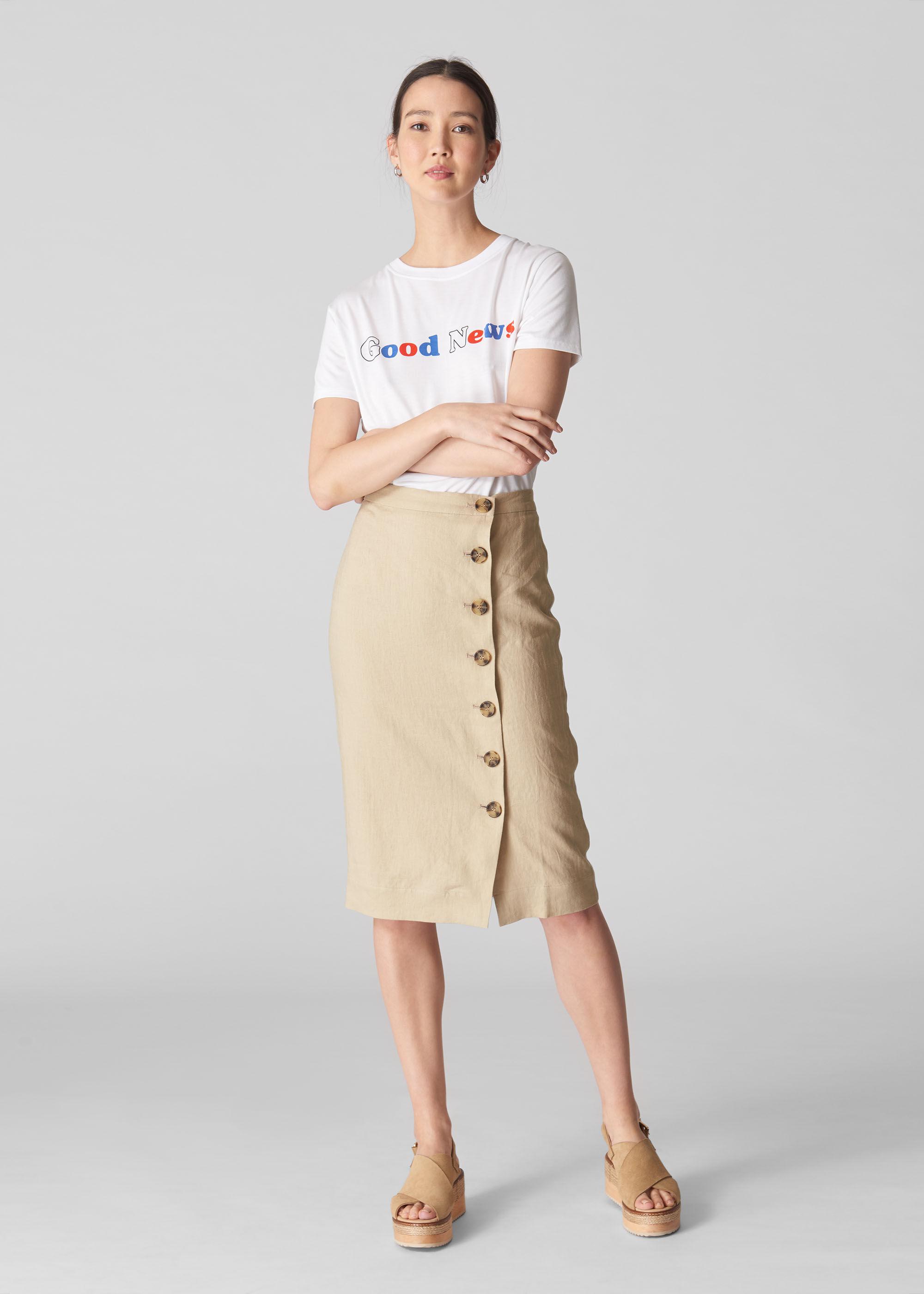 Whistles Women Button Linen Pencil Skirt