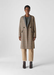 Check Double Faced Wool Coat Multicolour