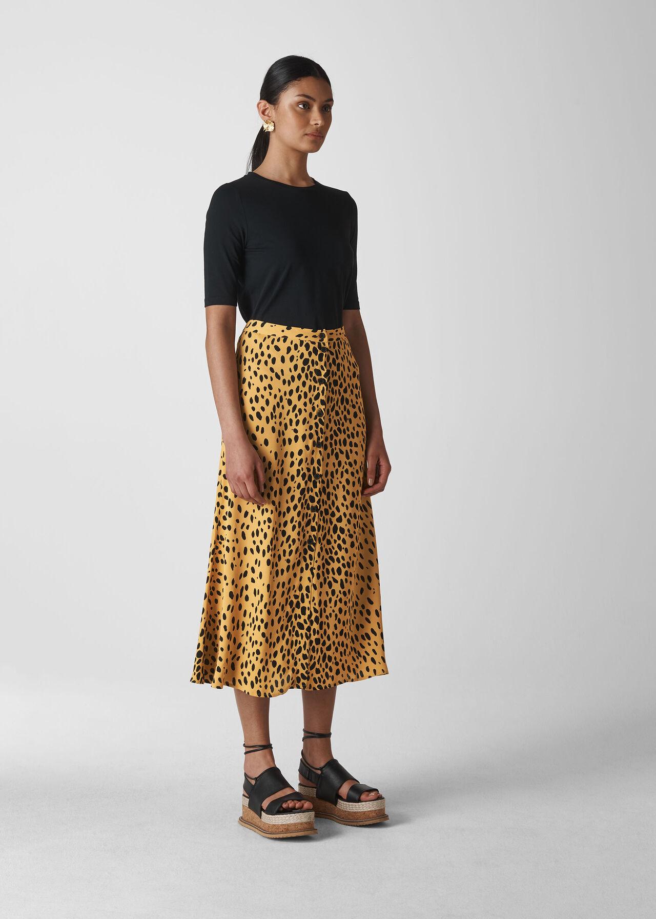 detailed look cheap for discount hot sale Cream/Multi Animal Print Midi Skirt | WHISTLES | Whistles