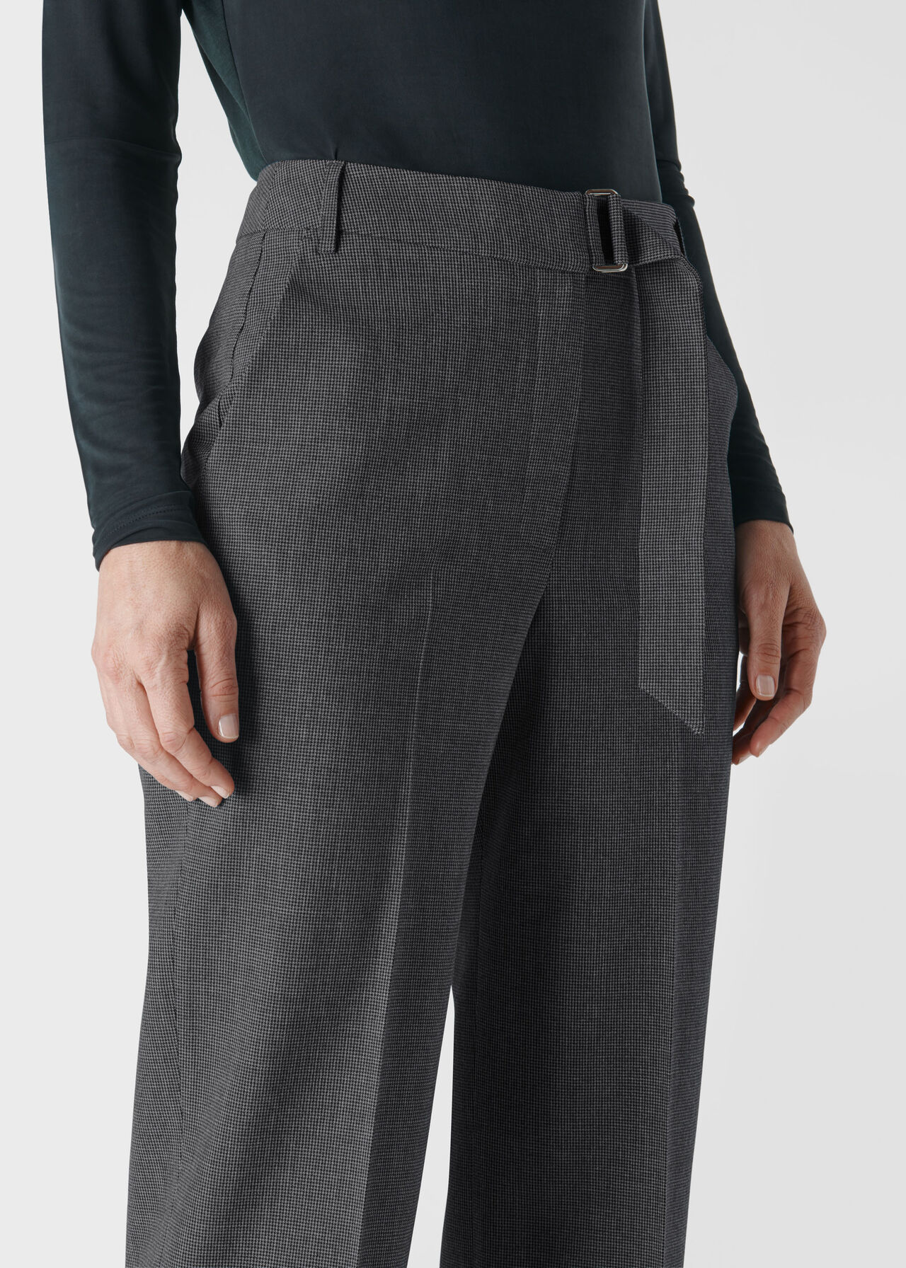 Aliza Belted Check Trouser