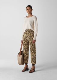 Leopard High Waist Barrel Leg Leopard Print