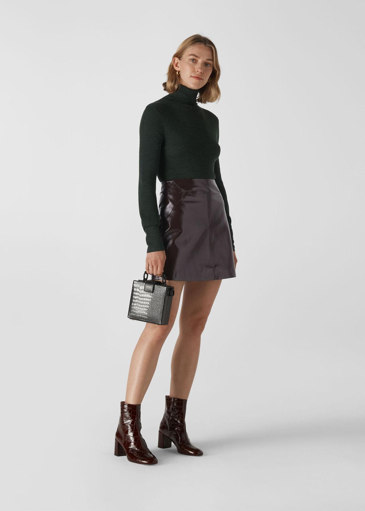 Patent A Line Skirt Burgundy
