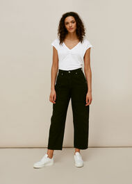 Gathered Front Linen T-Shirt White