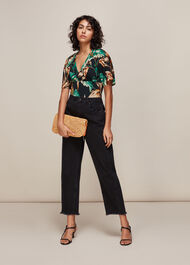Tropical Floral Top Green/Multi
