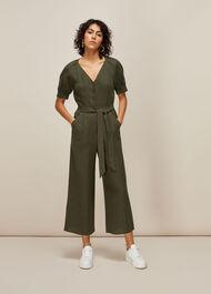 Nora Linen Jumpsuit Khaki