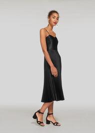 Satin Pleated Dress Black
