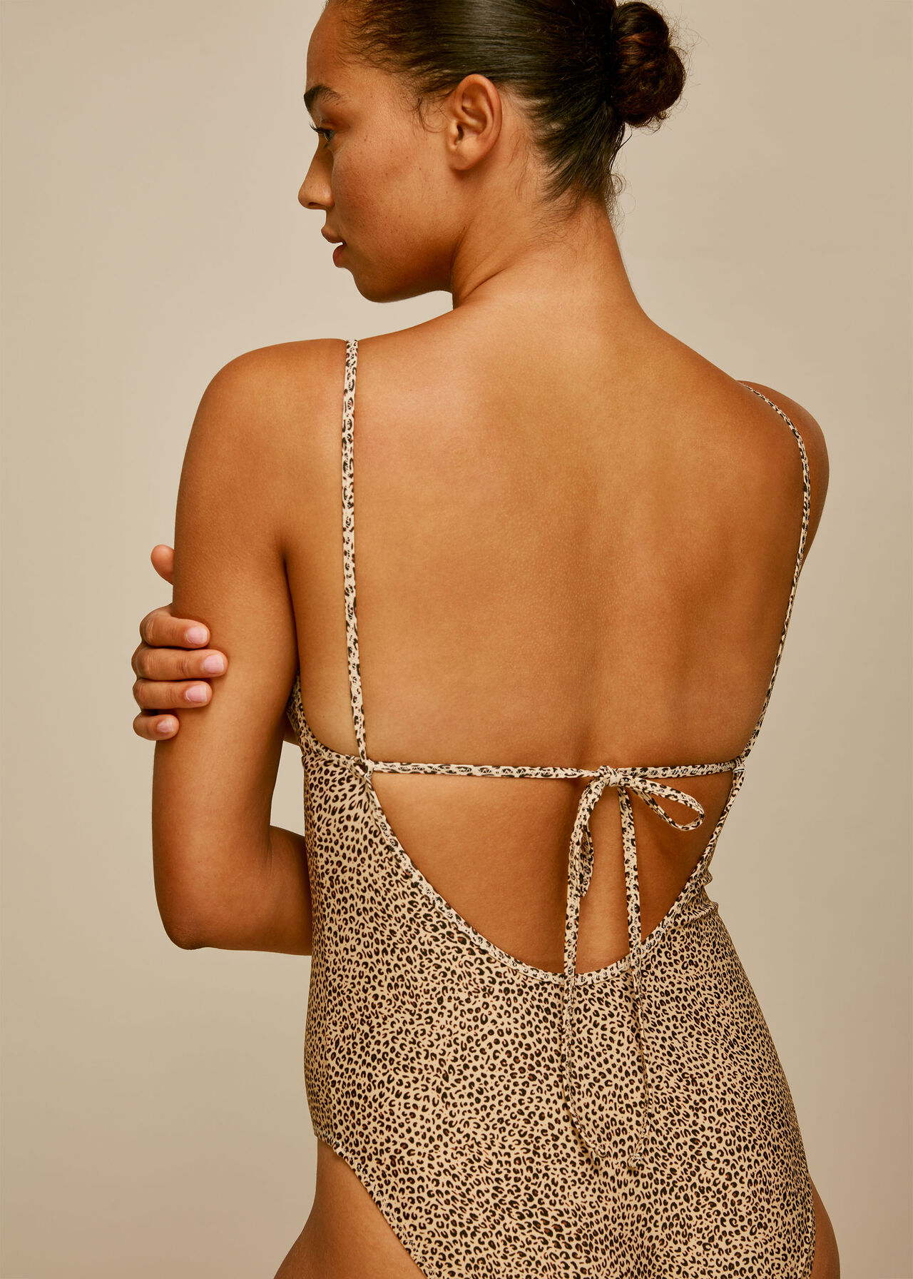 Mini Leopard Print Swimsuit Brown/Multi