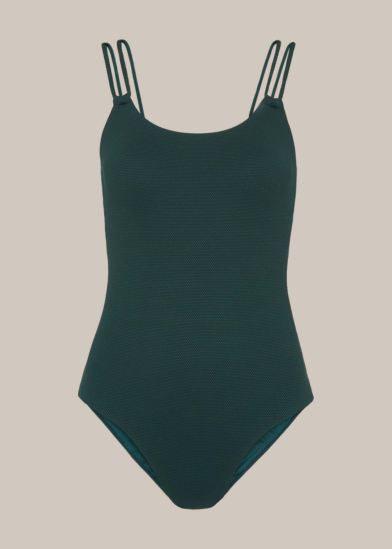 Double Strap Textured Swimsuit