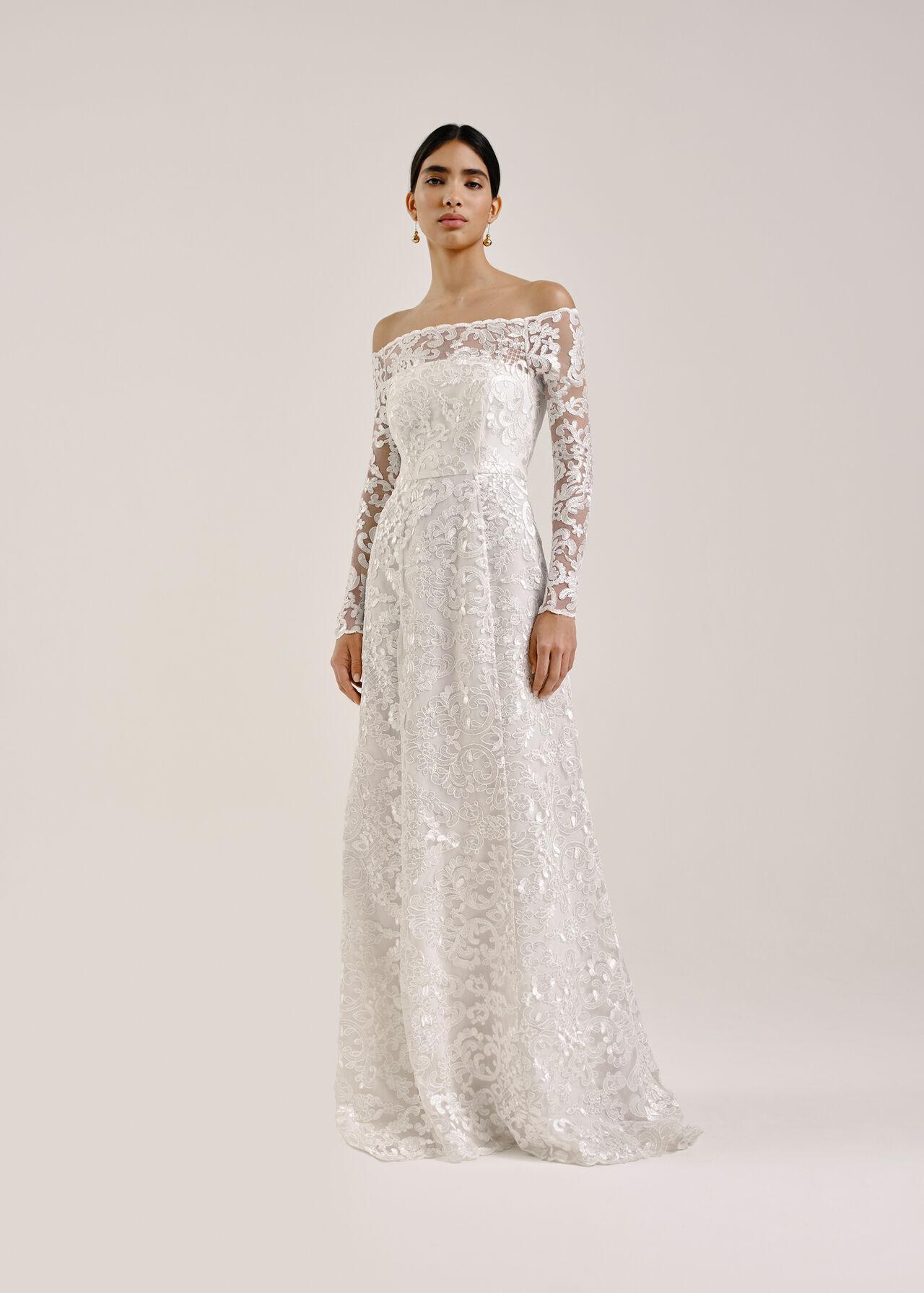 Melba Bardot Wedding Dress Ivory
