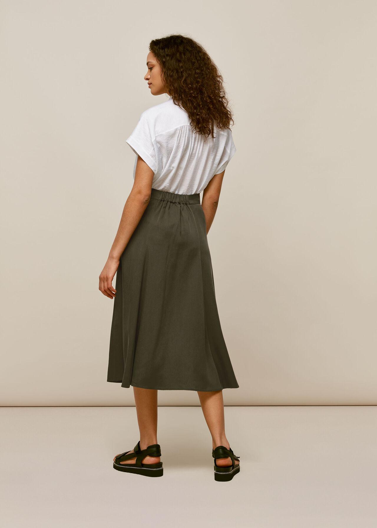 Marissa Button Through Skirt Khaki