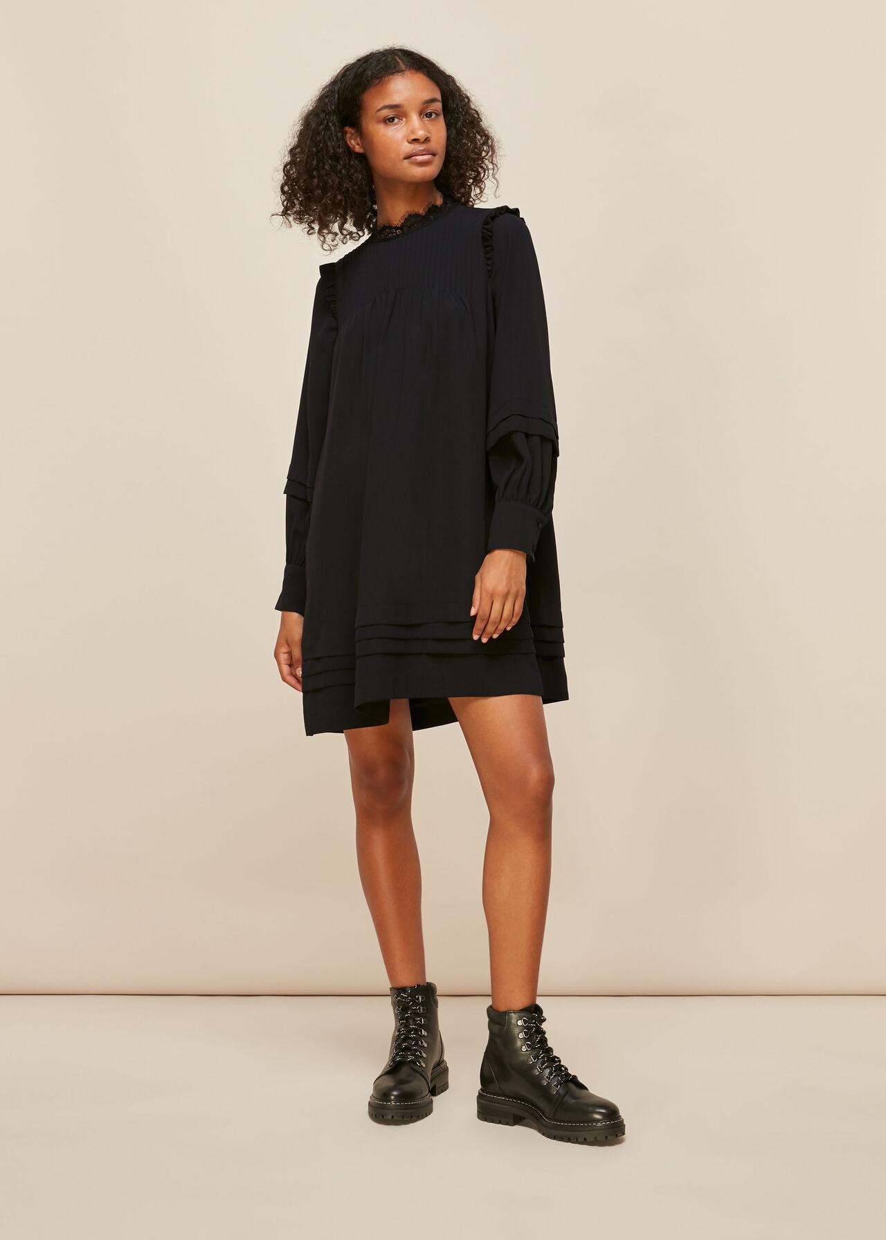 Lace Trim Pintuck Dress