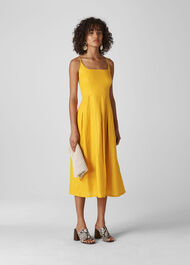 Duffy Linen Strappy Dress Yellow