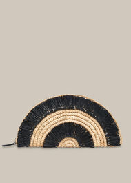 Santino Fringe Straw Clutch Black/Multi