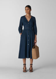 Tansey Linen Dress Navy