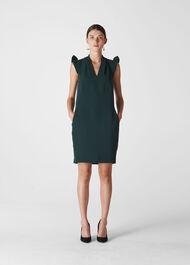 Safia Crepe Dress Dark Green