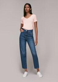 Sophie V Neck Cotton Tshirt Pale Pink