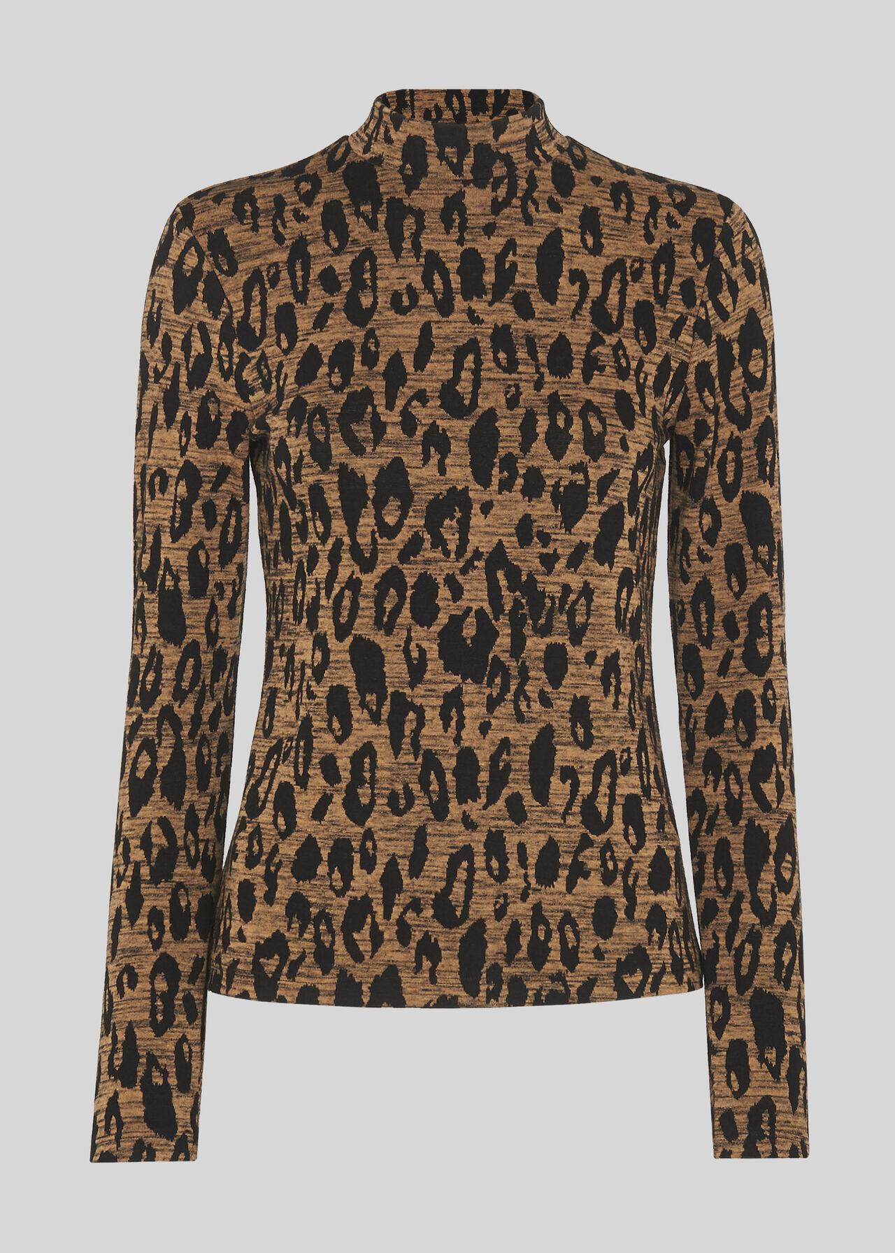 High Neck Animal Jaquard Top Leopard Print