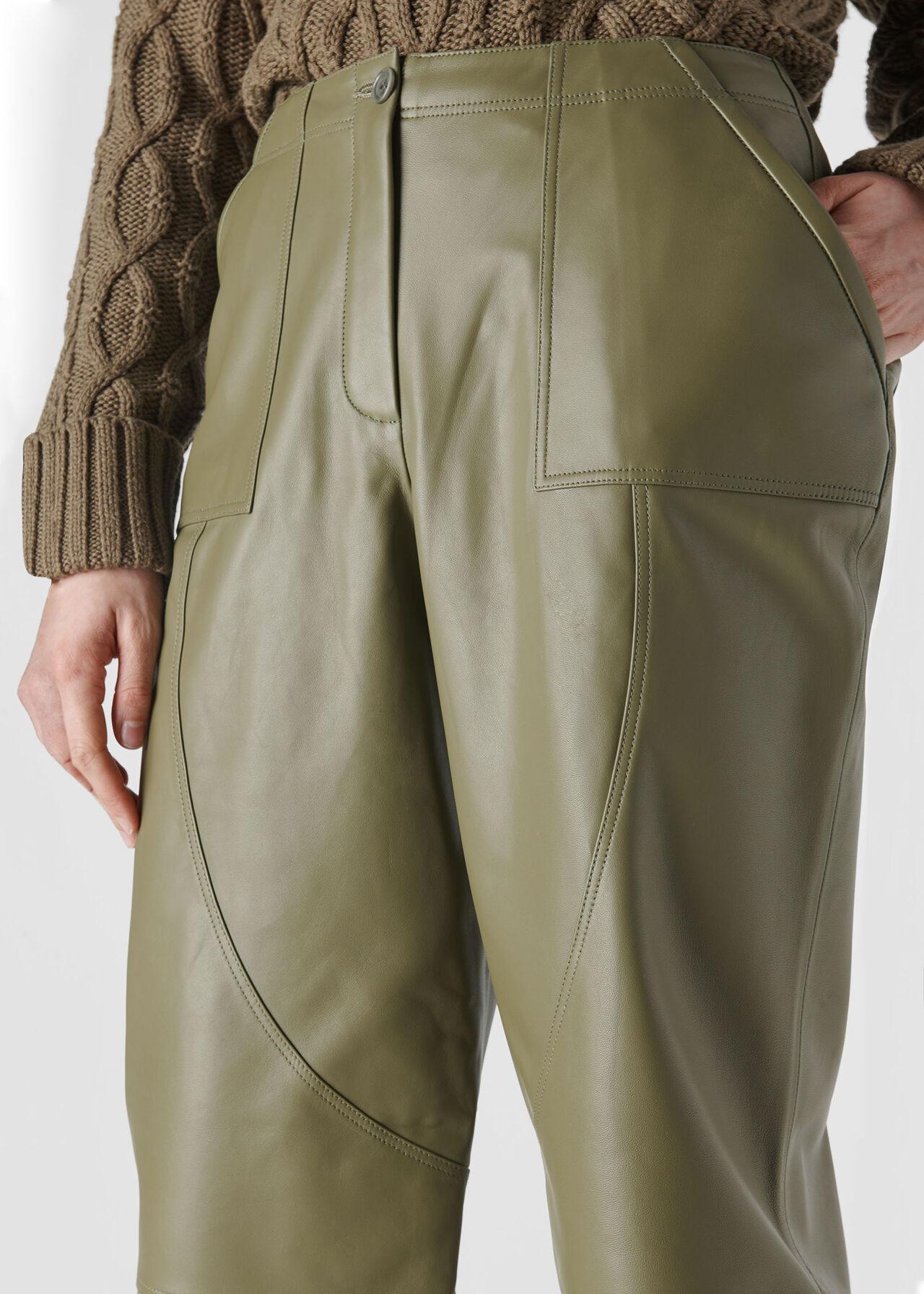 Leather Cargo Trouser Khaki