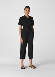 Lidia Button Jumpsuit Black