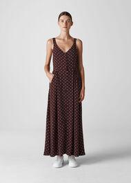 Spot Print Maxi Dress Burgundy