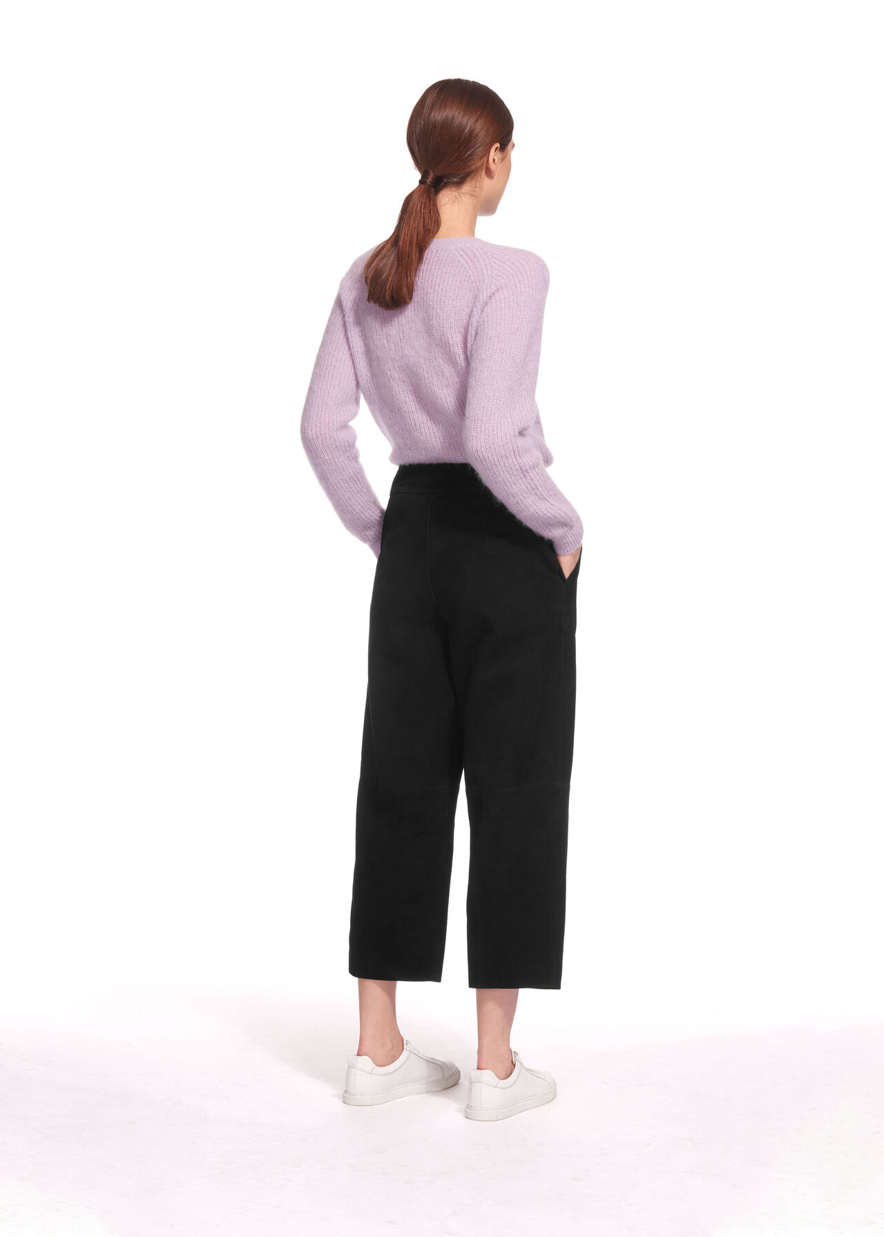 Suede Crop Wide Leg Trouser Black