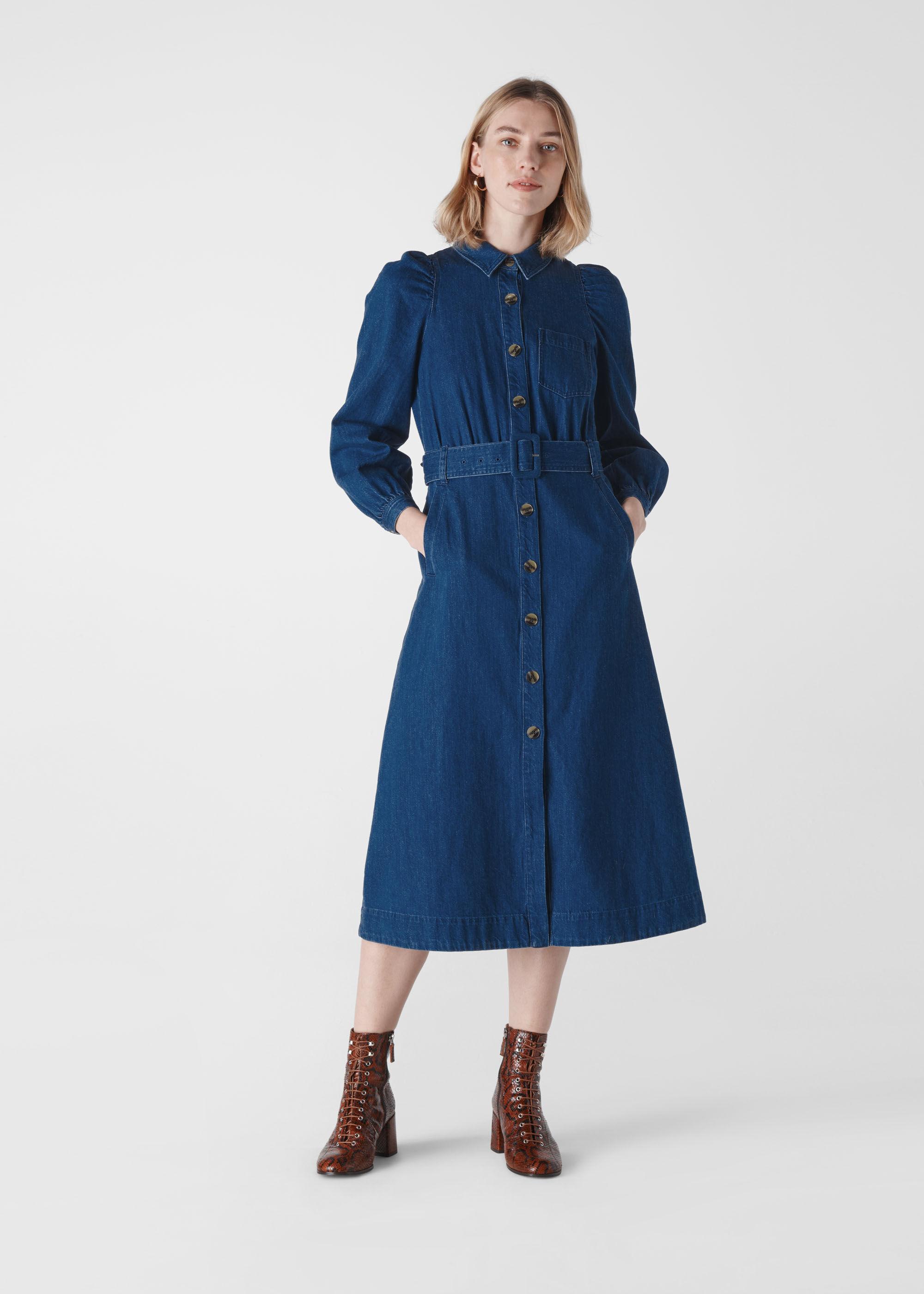 Denim Belted Midi Dress