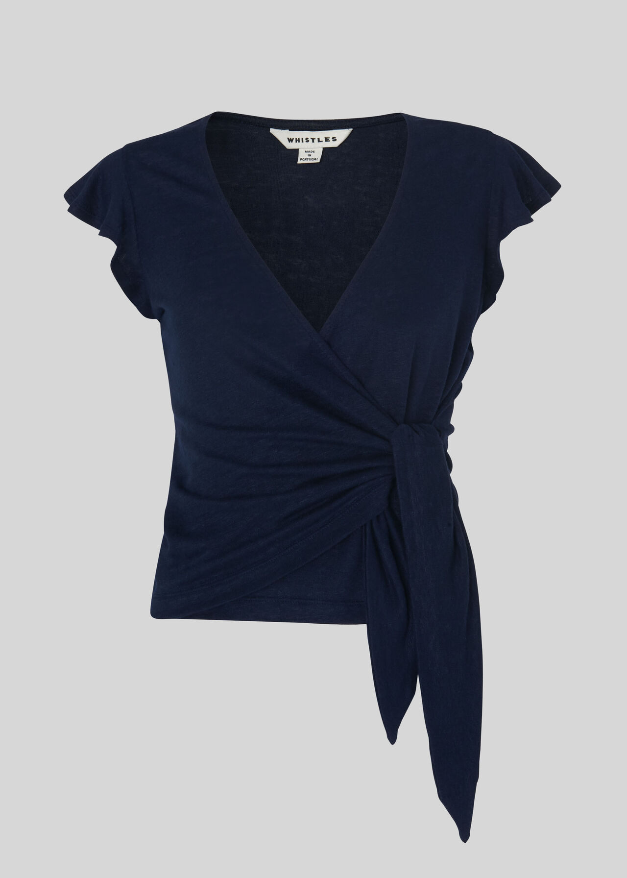 Frill Sleeve Linen Wrap Top Navy