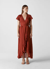 Nolita Wrap Maxi Dress Rust