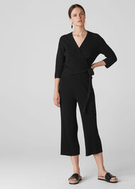 Rib Detail Knit Culottes Black