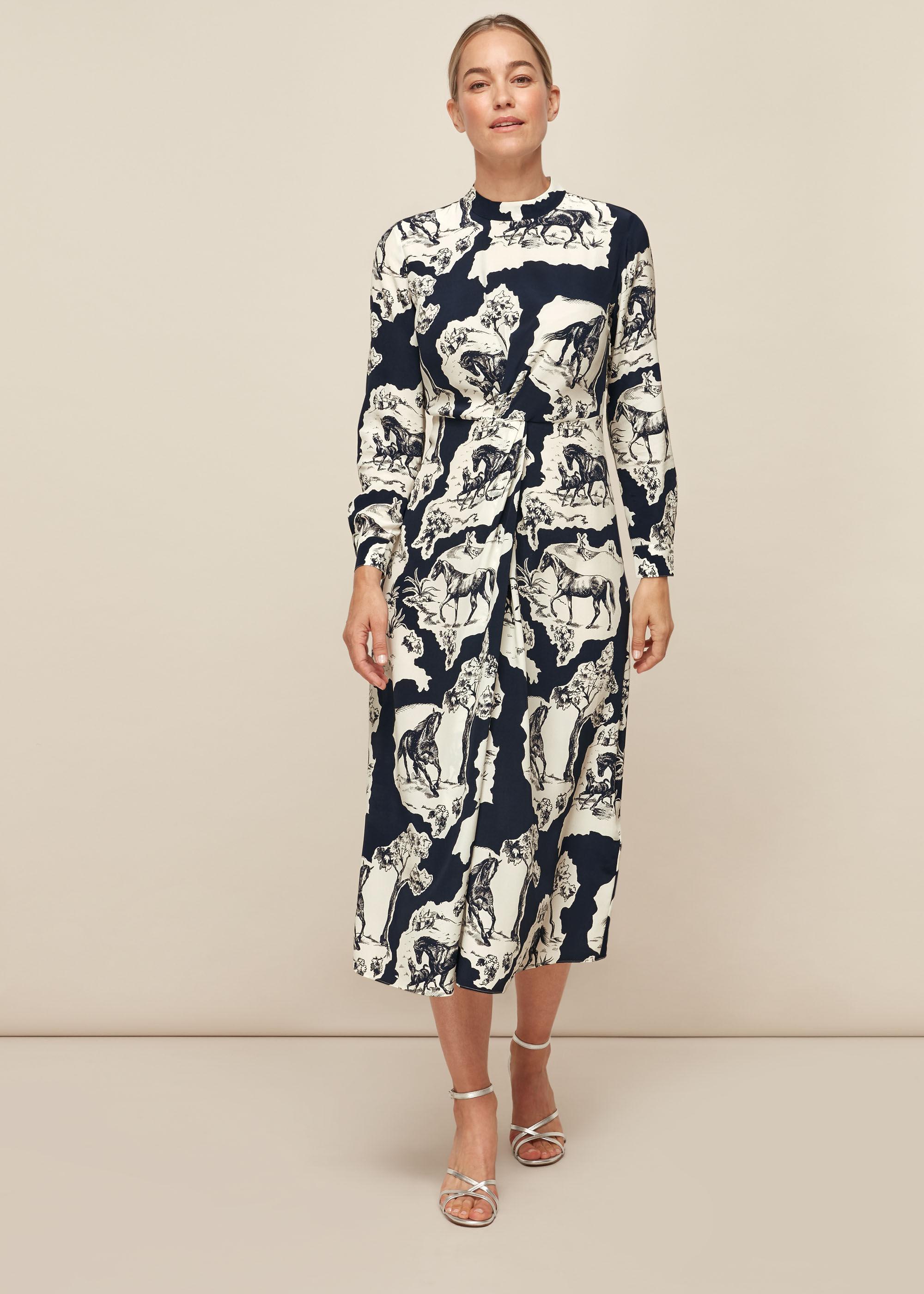 Whistles Women Stallion Print Silk Dress