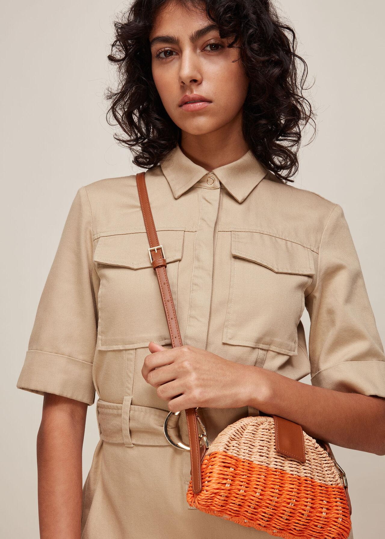 Leo Mini Crossbody Straw Bag Orange/Multi