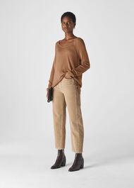 Scoop Neck Silk Mix Knit Camel