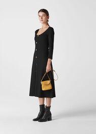 Button Detail Jersey Dress Black