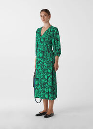 Sunflower Print Wrap Dress Green/Multi