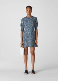 Josefina Etched Print Dress Navy/Multi