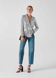 Sequin Double Breasted Blazer Silver