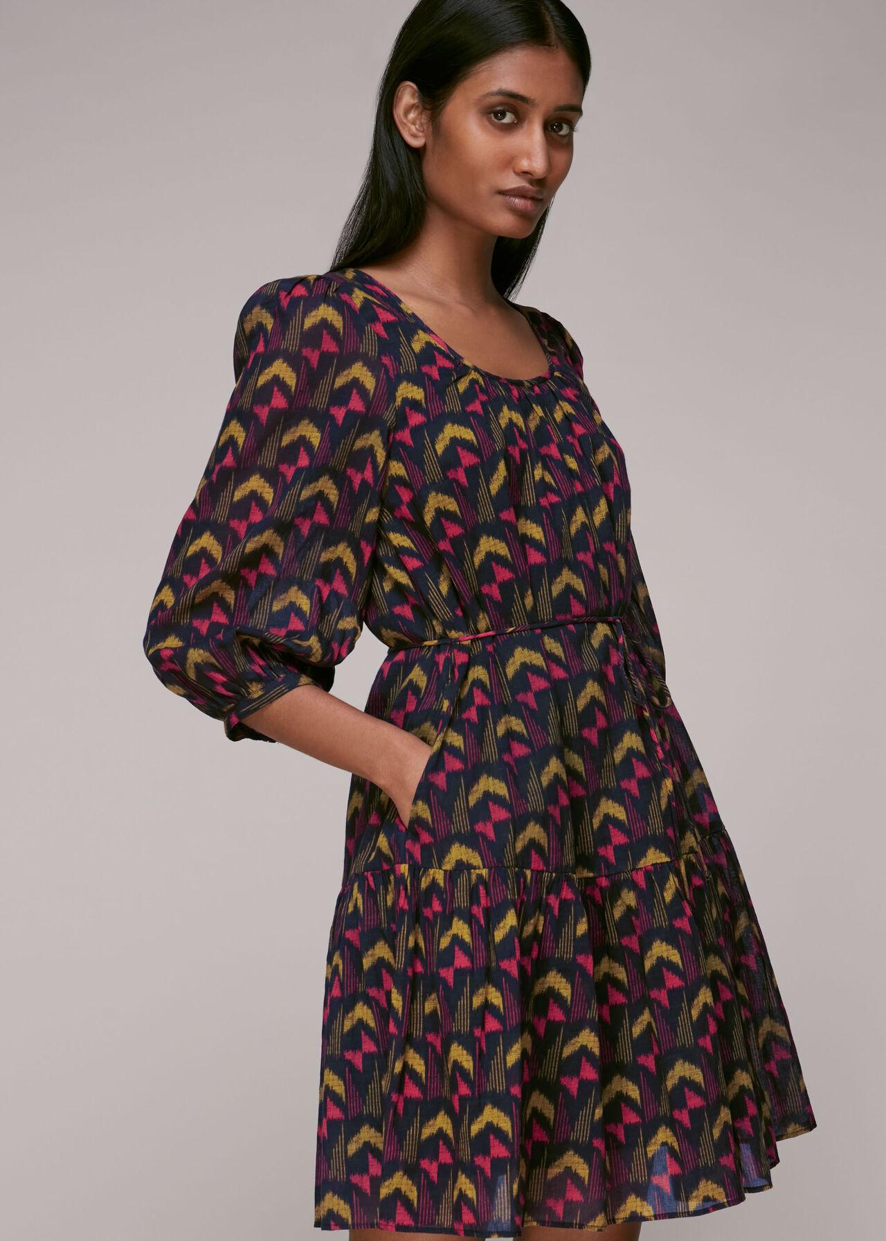 Geometric Ikat Trapeze Dress Black/Multi