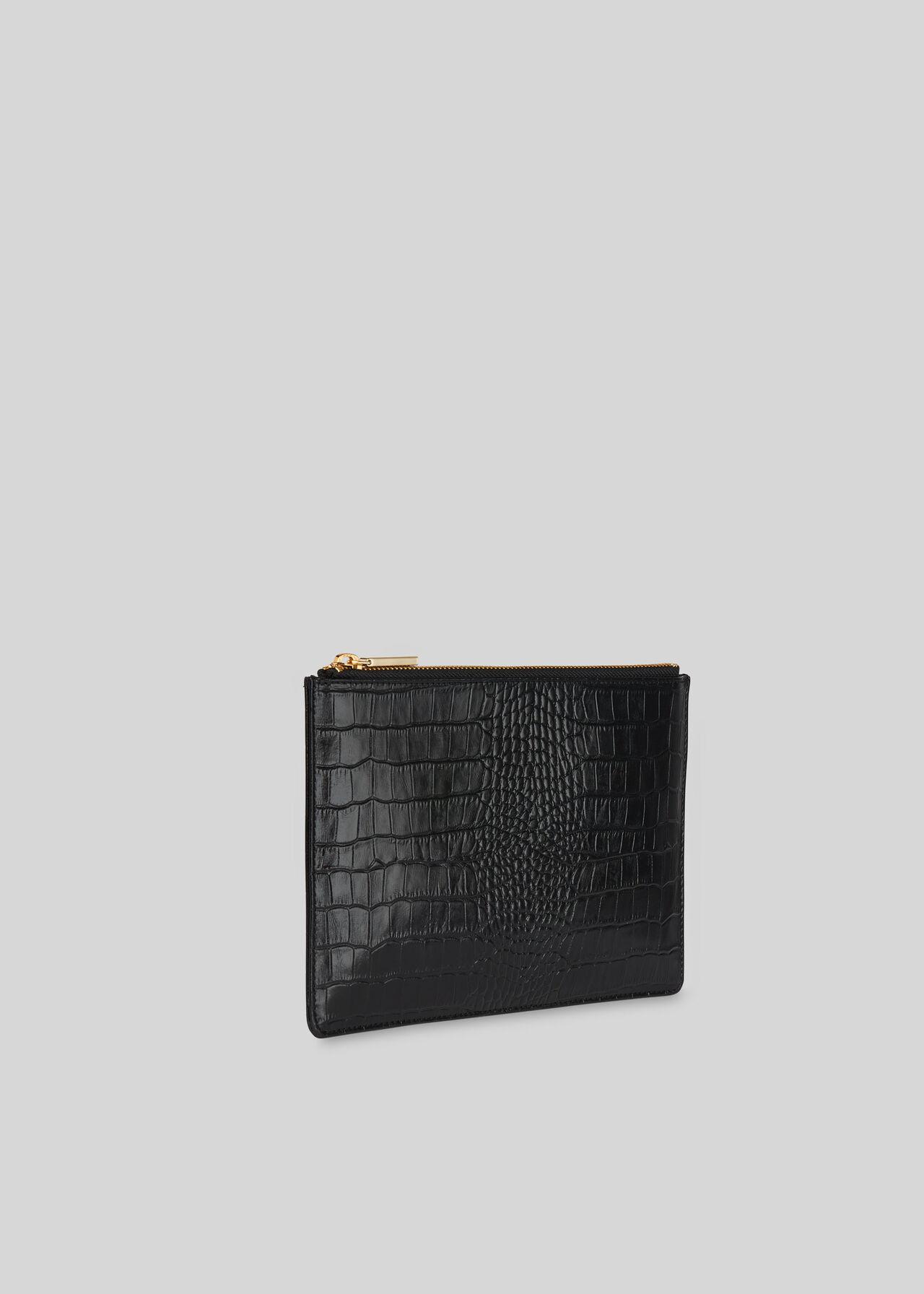 Shiny Croc Small Clutch Black