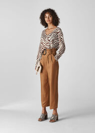 Graphic Zebra Print Linen Knit Brown/Multi